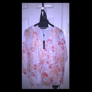 Rose ans olive 100% polyester flowy top 3X
